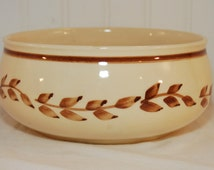 Brush Pottery Bowl (c. 1938), Hand Painted Wheat or Leaf Design, Signed With Initials M.T. Back Stamped Brush USA, Vintage Cottage Chic