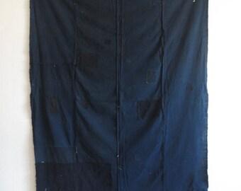 SALE 15% off Antique Japanese Solid Deep Indigo Boro Patched Textile - Large
