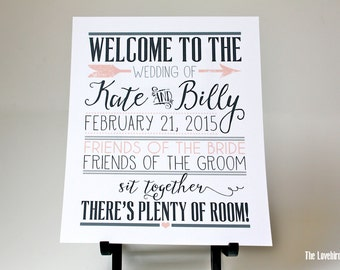 Wedding Welcome Sign - No Seating Plan Sign - Welcome to our wedding - Color Coordinating  - AA4