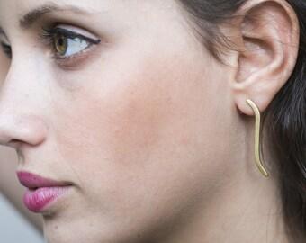 Long studs, Curved bar earrings, Minimalist long earrings, gold long earrings long bar earrings minimalist stud earrings curved line earring