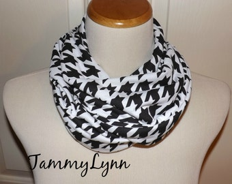 NEW!! Girls Black and White Houndstooth Jersey Knit Infinity Girls Accessories