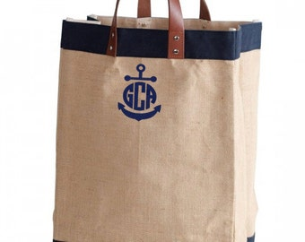 SALE!! Monogram Navy trim market bag.