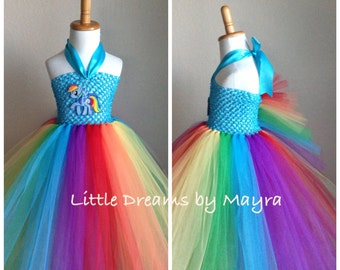 My Little Pony Rainbow dash inspired tutu dress - Rainbow dash costume inspired size nb to 12years