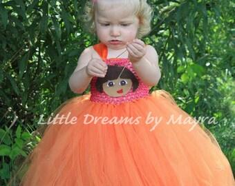 Dora the explorer inspired tutu dress with matching hair clip size newborn to 9years