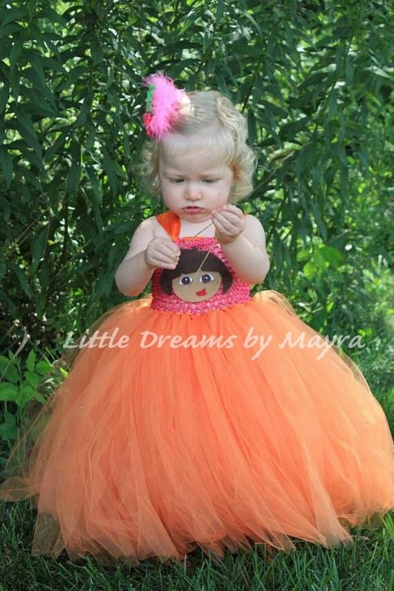 Dora the explorer inspired tutu dress with matching hair clip