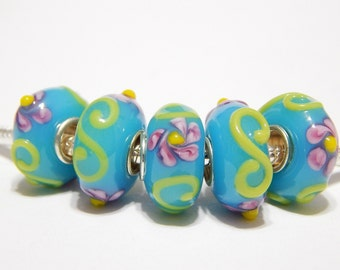 1x Murano Lampwork Bead - Blue With Yellow Swirls And Pink Flowers - Large Hole - Fits European - A112