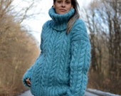 Hand Knit Mohair Sweater Cable Dull BLUE Fuzzy Turtleneck Jumper Pullover Jersey MADE to ORDER - by Extravagantza