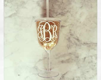 Personalized Acrylic Wine Glass with Lid & Straw {Gold Glitter}