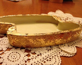 Beautiful VintageLe Mienx China Hand Decorated 22 Karat Gold Ashtray