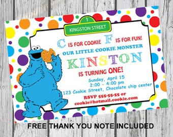 Cookie monster invitations - Cookie monster invites - Printable invitation - DIY invitations - Sesame street party - Cookie monster party