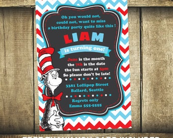 Dr seuss birthday card - Cat in the hat invitation - Printable invitation - Cat in the hat card - Dr seuss party - Cat in the hat birthday