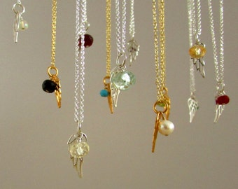 Choose your own birthstone jewelry, angel birthstone necklace, tiny memorial necklace, miscarriage necklace, silver or gold angel necklace