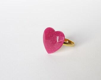 """Glitter PINK """"Brilliant Cherry"""" HEART RING. Glitterring resin heart ring"""