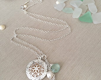 """24"""" Aromatherapy Locket Diffuser Necklace with Seafoam Chalcedony Gemstones and Freshwater Pearls"""