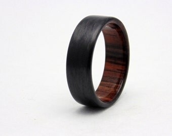 Carbon fiber wedding band with Cocobolo wood, Handmade carbon fiber and wood ring