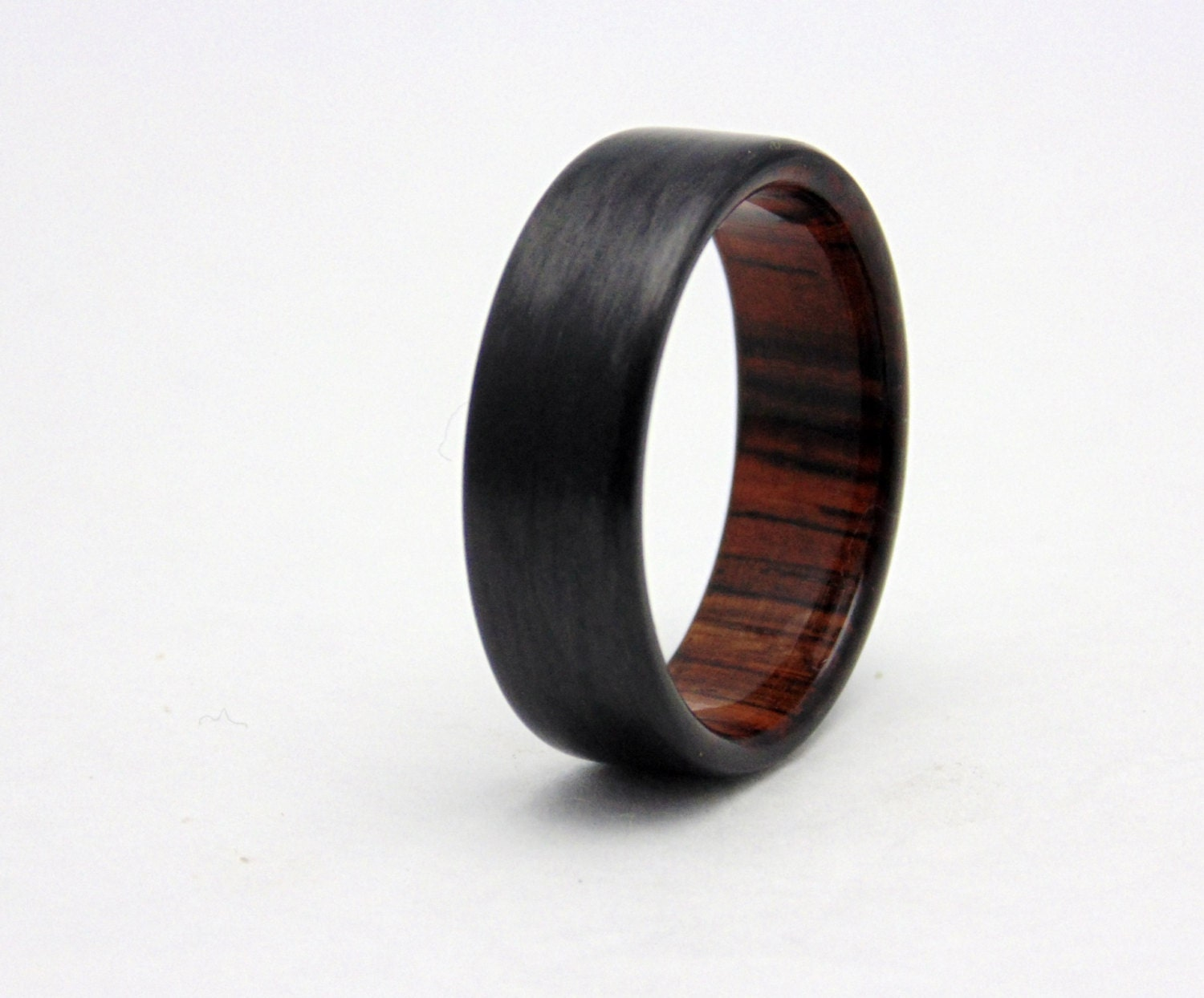 carbon fiber wedding band with cocobolo wood handmade carbon With carbon wedding rings