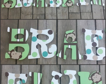 Mod Pod Pop Monkey Inspired Hand Painted Wood Letters, Hand Painted Letters, Pop Monkey Letters, Mod Pod Letters, Custom Name Letters