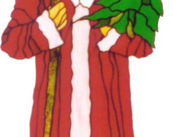 """Old Fashioned Santa Stained Glass Pattern- 34"""" tall, 15"""" wide"""