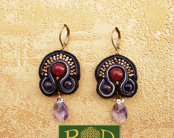 Elegant silk earrings with ruby!