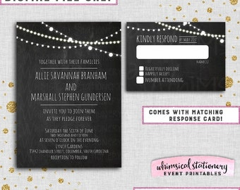 "Wedding Invite & RSVP Card ""Lights Trio, Chalk"" (Printable File Only) Invitation Simple Elegant Porch Rustic Fun"