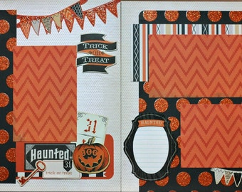 12x12 2 Page Scrapbook Kit, Premade Scrapbook Pages, Trick or Treat Scrapbook Pages, Halloween Scrapbook Pages - Trick or Treat