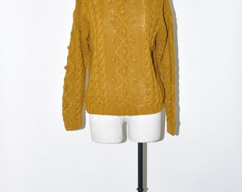 dark mustard sweater / cable knit sweater / cropped cotton pullover / chunky knit jumper