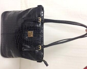 Black tote,Ann Klein Croc Embossed Tote, Shoulder Bag