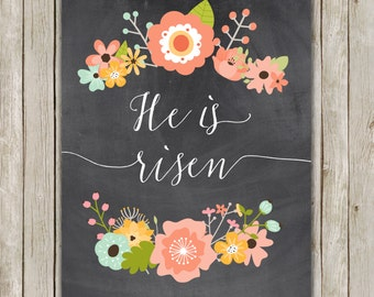 8x10 Easter Printable Art, He Is Risen Print, Typography Art, Typography Print,  Chalkboard Art Poster, Wall Art Decor, Instant Download