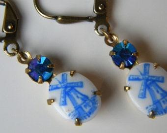Vintage Delft Blue Windmill Earrings Dutch Windmill Dangles Delft Blue Swarovski Earring