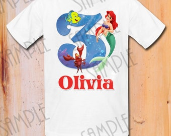 Disney Little Mermaid Iron On Transfer Disney Princess Shirt Birthday Girl Digital Download Personalized Ariel Little Mermaid party shirt