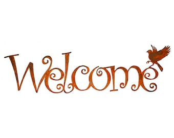 WE601 Welcome Script (23-inch) | Decorative Welcome Wall Art Script | Rusty Birds by Elegant Garden Design