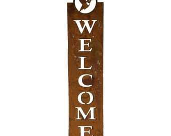 WE613 Hummingbird Welcome Sign (24 inch)   Metal Wall Art   Bird Silhouette with Rust Patina by Rusty Birds