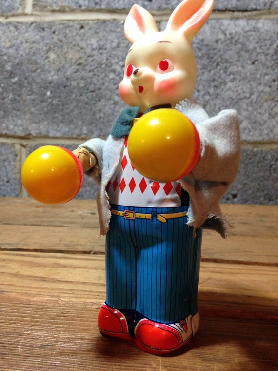 Creepy Japanese Toy : Items similar to vintage creepy tin toy moving bunny