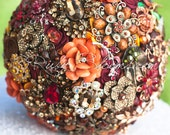 "Golden Fall Wedding Brooch Bouquet. ""Follow Me"" Heirloom Country Autumn Wedding Bouquet, Crystal Bridal Broach Bouquet, Ruby Blooms Weddings"