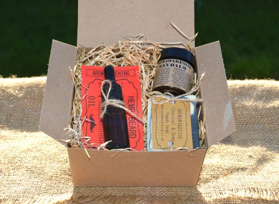 items similar to rustic gift box for men hemp beard oil charcoal hemp face body bar and man. Black Bedroom Furniture Sets. Home Design Ideas