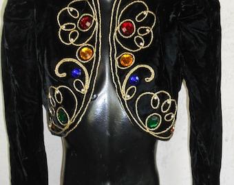Vintage 80s Black Velvet Cropped Bolero Jacket