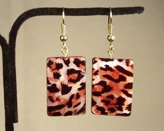 Rectangle Earrings, Shell Earrings, Leopard Earrings, Animal Earrings, Animal Print Earrings, Brown Earrings, Orange Earrings