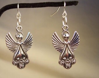 Angel Earrings, Guardian Angel Earrings, Silver Earrings, Silver Angel Earrings, Religious Earrings, Christian Earrings