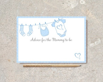 Baby shower Advice Card Printable, Advice for Mommy to be, Boy Baby Shower Games, Advice for Mom, Boy shower activity, digital file