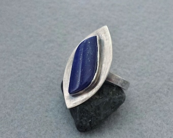 Handmade Ring with Natural Lapis Lazuli Set in Oxidized Sterling Silver