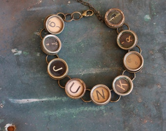 Junk Typewriter Key Bracelet,inspiration,steampunk,unique gift,recycled,upcycled,reclaimed,vintage gift,industrial