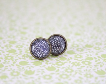 Black and white spotted earrings, studs
