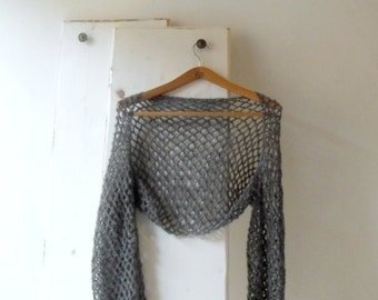 Grey crochet lace shrug, bolero, alpaca and silk shrug
