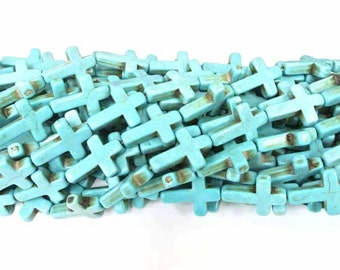 Turquoise Stone Crosses, Turquoise Cross Beads, Cross Beads, Howlite Cross, 25x18, Turquoise Beads, Crosses, Cross Beads, Wholesale Beads