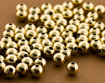 Gold filled Beads, 6mm Gold filled Round Beads, 50 PCS, Seamless Gold fill Beads, 14k 14/20 round Beads, Round gold Beads, Wholesale Beads
