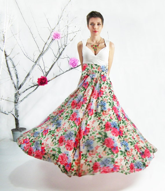 Long Floral MAXI SKIRT Floor Length Skirt High Waisted