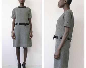 Designer Vintage 1960s Wool Shift Dress by Frederick Starke