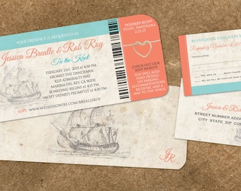 Cruise Board Pass | Nautical Weddings on Yachts Ships | Tie the Knot | Vintage Blue Coral  | Ship Sailing
