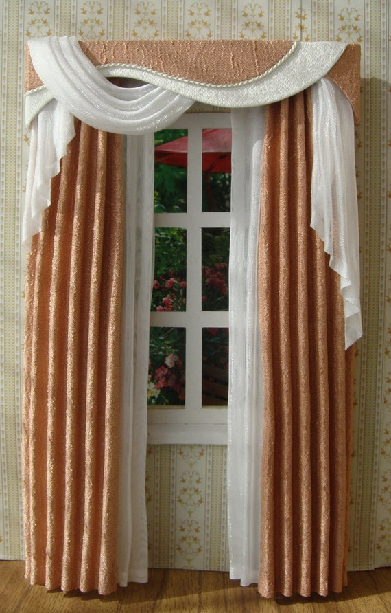 items similar to miniature 1 12 dollhouse curtains to