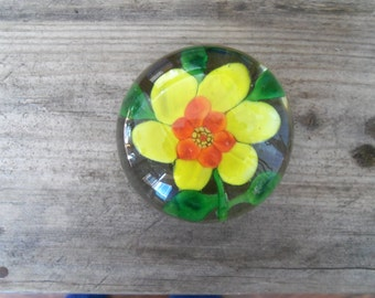 Small Vintage Yellow Flower Paperweight